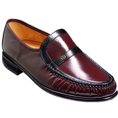 Barker Jefferson Shoes - Moccasin - Burgundy / Black Kid