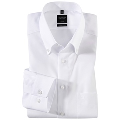 Olymp Modern Fit Button-Down Collar Shirt - White