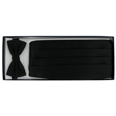 Cummerbund & Bow Set - Black Satin