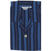 Men's Nightshirt - Navy Blue Light Blue Satin Stripe