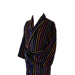 Men's Luxury Full Shawl Velour Dressing Gown - Navy and Multi Stripes