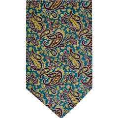 Teal Silk Cravat with Yellow Paisley