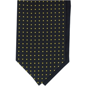 Men's Silk Cravat - Navy with Yellow Polka Dot