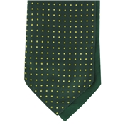 Men's Silk Cravat - Green with Yellow Polka Dot