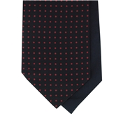 Men's Silk Cravat - Navy with Red Polka Dot