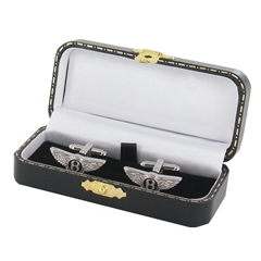 Bentley Cufflinks - Bentley Design Cuff Links in Green Luxury Antique Style Leatherette Gift Box