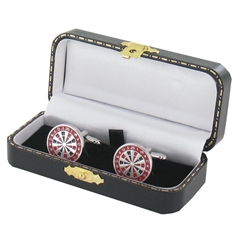 Darts Cufflinks - Darts Design Cuff Links in Green Luxury Antique Style Leatherette Gift Box