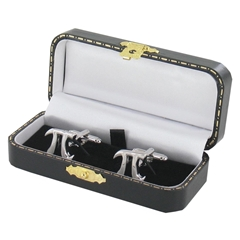 Pi Cufflinks - Mathematical Design Cuff Links in Black Luxury Antique Style Leatherette Gift Box