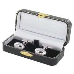 Rugby Cufflinks - Rugby Design Cuff Links in Black Luxury Antique Style Leatherette Gift Box
