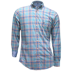 Fynch-Hatton Supersoft Cotton Shirt - Emerald Check - Size Medium Only