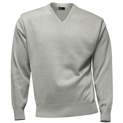 Franco Ponti 100% Lambswool Vee Neck Sweater - Silver