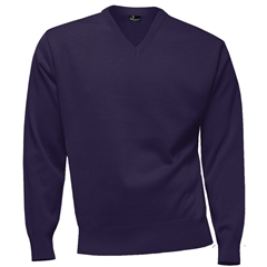 Franco Ponti 100% Lambswool Vee Neck Sweater - Purple