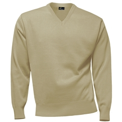 Franco Ponti 100% Lambswool Vee Neck Sweater - Beige