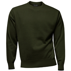 Franco Ponti 100% Lambswool Crew Neck Sweater - Forest
