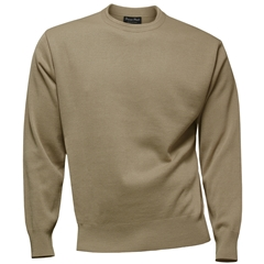 Franco Ponti 100% Lambswool Crew Neck Sweater - Fawn