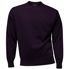 Franco Ponti 100% Lambswool Crew Neck Sweater - Purple