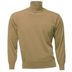 Franco Ponti Men's Fine Merino Wool Roll Neck Sweater - Beige