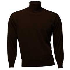 Franco Ponti Men's Fine Merino Wool Roll Neck Sweater - Chocolate