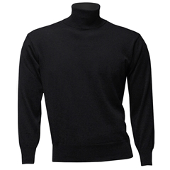 Franco Ponti Men's Fine Merino Wool Roll Neck Sweater - Charcoal