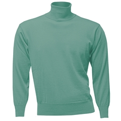 Franco Ponti Men's Fine Merino Wool Roll Neck Sweater - Mint