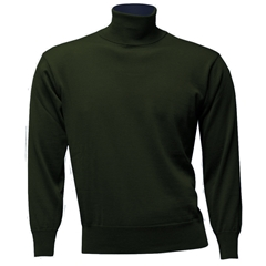 Franco Ponti Men's Fine Merino Wool Roll Neck Sweater - Fern