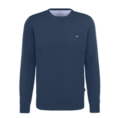 Spring 2019 Fynch Hatton Superfine Cotton Crew Neck Sweater - Night Blue