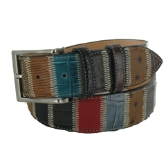 Patchwork Leather Belt by Robert Charles - 3.5cm width