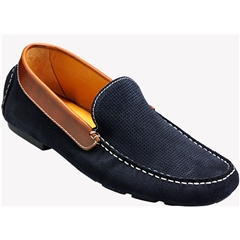 Barker Denby - Navy Suede / Brown Collar