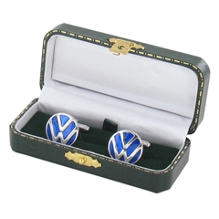 Volkswagen Silver Cufflinks - VW Design Cuff Links in Green Luxury Antique Style Leatherette Gift Box - Car Lovers Gift