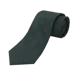 The Silk Tie Company - Green Woven with Country Stag Design - 100% Silk