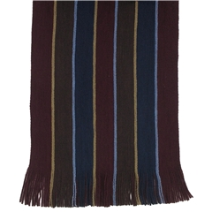 Men's Knitted Scarf - Wine Double Stripe Face Design Men's Scarf
