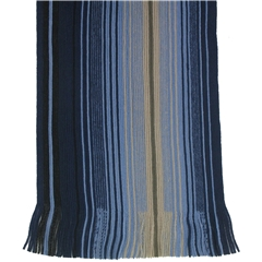 Men's Knitted Scarf - Blue/Beige Stripe Design Men's Scarf