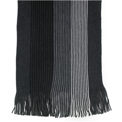 Men's Knitted Scarf - Grey Stripe Design Men's Scarf