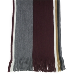 Men's Knitted Scarf - Wine/Grey Stripe Design Men's Scarf