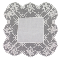 White Nottingham Lace Handkerchief - Ladies' Handmade Handkerchief - HF407