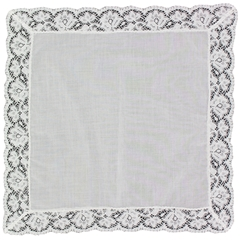 White Nottingham Lace Handkerchief - Ladies' Handmade Handkerchief - HF411