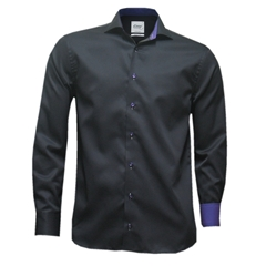 "Oscar Shirt - Black With Purple Contrast - MEDIUM 15.5"" COLLAR ONLY"