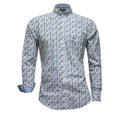 Fynch-Hatton Shirt - Blue Abstract Paisley - Size Medium Only