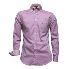 Fynch-Hatton Cotton Shirt - Plain Berry Fine Oxford - Size Medium Only