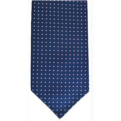 Men's Silk Cravat - Navy and Pink Polka Dot