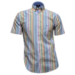 Fynch-Hatton Cotton Short Sleeve Shirt - Multi Stripe