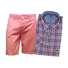 Blue Pink Check Shirt & Salmon Shorts - shorts priced separately