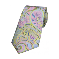 The Silk Tie Company - Multicoloured Edwardian Paisley On Lemon Ground - 100% Luxury Silk Tie
