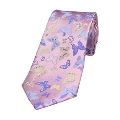 The Silk Tie Company - Multicoloured Butterflies On Pastel Pink Ground - 100% Luxury Silk Tie