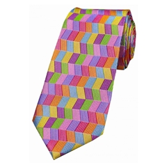 The Silk Tie Company - Multicoloured Zig Zag - 100% Silk Tie