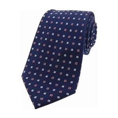 The Silk Tie Company - Navy Small Squares - 100% Silk Tie