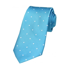 The Silk Tie Company - Turquoise and White Polka Dot - 100% Silk Tie