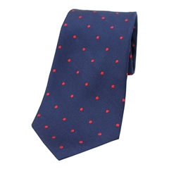 The Silk Tie Company - Navy and Red Polka Dot - 100% Silk Tie