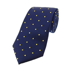 The Silk Tie Company - Navy and Gold Polka Dot - 100% Silk Tie