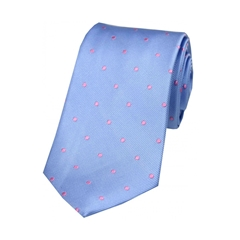 The Silk Tie Company - Sky Blue and Pink Polka Dot - 100% Silk Tie